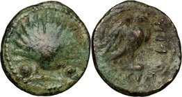 Greek Italy. Southern Apulia, Graxa. AE Sextans, 250-225 BC. D/ Scallop shell between two dots. R/ Eagle standing on thunderbolt; to left, KRH; in exe...