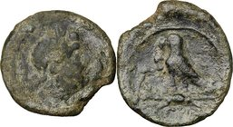 Greek Italy. Southern Apulia, Graxa. AE 16 mm, 250-225 BC. D/ Head of Zeus right. R/ Eagle standing left on thunderbolt; to left, letters; in exergue,...