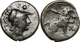 Greek Italy. Southern Apulia, Mateolum. AE Sextans, c. 210-150 BC. D/ Helmeted head of Athena right; above, two pellets. R/ Lion seated right, holding...