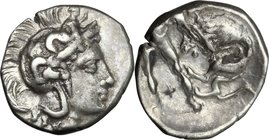 Greek Italy. Southern Apulia, Tarentum. AR Diobol, 380-325 BC. D/ Head of Athena right, wearing Attic helmet decorated with Scylla. R/ Herakles standi...
