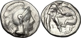 Greek Italy. Southern Apulia, Tarentum. AR Diobol, 325-280 BC. D/ Head of Athena right, wearing Attic helmet; Λ before eye. R/ Herakles standing right...