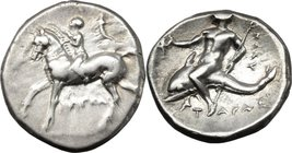 Greek Italy. Southern Apulia, Tarentum. AR Nomos, circa 280-272 BC. D/ Youth on horseback left, crowning horse; cornucopiae to right, I-AΠEAC below. R...