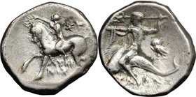 Greek Italy. Southern Apulia, Tarentum. AR Nomos, 280-272 BC, Lykinos and Su-