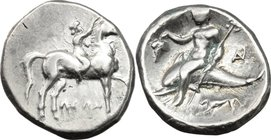 Greek Italy. Southern Apulia, Tarentum. AR Nomos, ca. 272-240 BC. D/ Youth on horseback right, crowning horse with wreath; ΛEΩN below. R/ Phalanthos r...