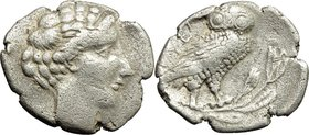 Greek Italy. Northern Lucania, Velia. AR Drachm, 440-400 BC. D/ Head of nymph right, with hair arranged in set waves. R/ YEΛ[H]. Owl with wings closed...