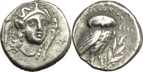 Greek Italy. Southern Lucania, Heraclea. AR Drachm, early Pyrrhic Period, c. 281-278 BC. D/ Head of Athena, three-quarter facing right, wearing Attic ...