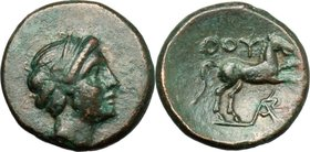 Greek Italy. Southern Lucania, Thurium. AE 14 mm. c. 280-260 BC. D/ Head of Apollo right, with short hair. R/ ΘOY. Horse prancing right; below, monogr...