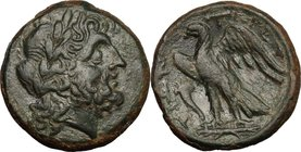 Greek Italy. Bruttium, Brettii. AE Unit, c. 214-211 BC. D/ Laureate head of Zeus right; [grain ear behind]. R/ BPET-TIΩN. Eagle standing left on thund...