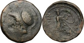 Greek Italy. Bruttium, Brettii. AE Double Unit, c. 208-203 BC. D/ Helmeted head of Ares left. R/ [BPET]TIΩ. Athena advancing right, holding shield; sp...