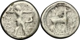 Greek Italy. Bruttium, Kaulonia. AR Nomos, c. 475-425 BC. D/ Apollo advancing right, holding branch; to right, stag. R/ KAV (retrograde). Stag right; ...