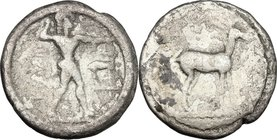Greek Italy. Bruttium, Kaulonia. AR Drachm or Triobol, c. 475-425 BC. D/ KAV. Apollo advancing right, holding branch; to right, stag. R/ Stag right. H...
