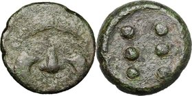Sicily. Himera. AE Hemilitron, c. 425-409 BC. D/ Facing gorgoneion. R/ Six pellets (mark of value). CNS 23. Kraay, Bronze 1 a. AE. g. 19.88 mm. 26.00 ...