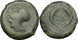 Sicily. Syracuse. Dionysos I (405-367 BC). AE Drachm, c. 380 BC. D/ ΣYPA. Helmeted head of Athena left. R/ Sea-star between two dolphins. CNS 62; SNG ...