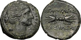 Sicily. Syracuse. Agathokles (317-289 BC). AE Litra, c. 295 BC. D/ ΣΩTEIPA. Head of Artemis Soteira right, quiver over shoulder. R/ AΓAΘOKΛEOΣ BAΣIΛEO...