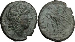 Sicily. Syracuse. Hiketas (287-278 BC). AE 25 mm. D/ Laureate head of Zeus Hellanios right. R/ ΣYPAKOΣIΩN. Eagle standing left on thunderbolt; A to le...