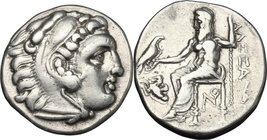 "Continental Greece. Kings of Macedon. Alexander III ""the Great"" (336-323 BC). AR Drachm, Lampsakos mint. D/ Head of Herakles right, wearing lion's ski..."