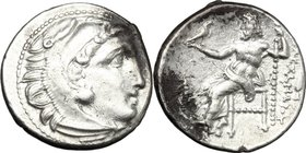 "Continental Greece. Kings of Macedon. Alexander III ""the Great"" (336-323 BC). AR Drachm, Magnesia ad Maeandrum mint. c. 325-323 BC. D/ Head of Herakle..."