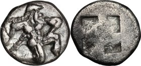 Continental Greece. Islands off Thrace, Thasos. AR 1/8 Stater, 500-480 BC. D/ Satyr running right. R/ Quadripartite incuse square. Le Rider, Thasienne...