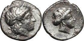Greek Asia. Lesbos, Mytilene. AR Diobol, c. 400-350 BC. D/ Laureate head of Apollo right. R/ Female head right, snake before. Cf. SNG Cop. 367-9; HGC ...