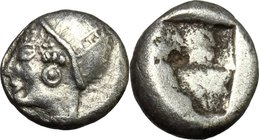 Greek Asia. Ionia, Phokaia. AR Diobol, c. 5th century BC. D/ Head of Athena (?) left, wearing close-fitting helmet and earring. R/ Irregular incuse. S...