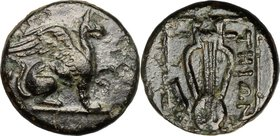 Greek Asia. Ionia, Teos. AE 11 mm. 210-190 BC. D/ Griffin seated right, raising forepaw. R/ THIΩN. Lyre; leg of animal to left; all within linear squa...