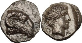 Greek Asia. Caria, Kasolaba. AR Hemiobol, 420-390 BC. D/ Head of ram right. R/ Head of young male right; Carian letter to left and right. Konuk, Kasol...