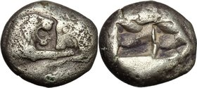 Greek Asia. Kings of Lydia. Kroisos (560-546 BC). AR Siglos of Half Stater, Sardeis mint. D/ Confronted foreparts of lion right, with extended right f...