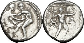 Greek Asia. Pamphylia, Aspendos. AR Stater, c. 420-410 BC. D/ Two nude wrestlers, standing and grappling with each other. R/ EΣTFEΛ-I-IY-Σ. Slinger in...