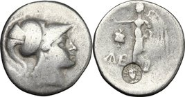 Greek Asia. Pamphylia, Side. AR Tetradrachm, c. 205-100 BC. D/ Helmeted head of Athena right. R/ Nike advancing left, holding wreath; to left, pomegra...
