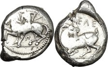 Greek Asia. Cilicia, Kelenderis. AR Stater, c. 425-380 BC. D/ Naked ephebus holding whip, seated sideways on horse galoping left, Π below horse's bell...