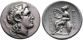 Lysimachos AR Tetradrachm. Lampsakos, circa 297-281 BC. Diademed head of the deified Alexander with horn of Ammon right / Athena enthroned left, holdi...