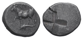 Thrace, Byzantion AR Siglos. c. 340-320. Bull standing l. on dolphin / Incuse granulated mill-sail pattern. SNG BM Black Sea 21; SNG Copenhagen 476. 5...