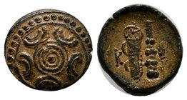 KINGS OF MACEDON. Alexander III 'the Great' (336-323 BC). Ae. Uncertain mint in Asia Minor.Obv: Macedonian shield.Rev: K. Bow in bow-case, club and gr...