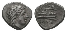 BITHYNIA, Kios. Circa 350-300 BC. AR Drachm. Laureate head of Apollo right; KIA below / Prow of galley left, star on stern; magistrate PROX-ENOS. Cf. ...