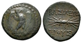 KINGS OF BITHYNIA. Prusias II Kynegos (182-149 BC). Ae. Nikomedeia. Obv: Eagle standing right, with wings spread.Rev: BAΣIΛEΩΣ / ΠΡΟYΣIOY. Thunderbolt...