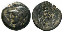 KINGS OF BITHYNIA. Prusias II Kynegos (182-149 BC). Ae. Nikomedia. Obv: Helmeted head of Athena left. Rev: Nike advancing right, carrying trophy over ...