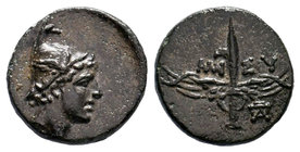 PONTOS. Amisos. Ae (85-65 BC). Obv: Head of Perseus right, wearing a winged helmet. Rev: AMI-ΣOY. Winged harpa; monogram right. SNG Copenhagen 160.