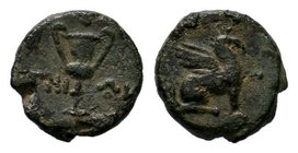 IONIA, Chios. (Circa 80-30 BC), Sphinx seated left, placing right forepaw on uncertain object. Rev. Kantharos. RARE!