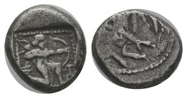 CILICIA, Tarsos. Circa 420-410 BC. AR Stater. Horseman, in Persian attire, holding lotus flower in right hand, rein in left, riding left; bow in bowca...
