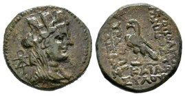 CILICIA. Hierapolis-Kastabala. Ae (2nd-1st centuries BC). Obv: Turreted head of Tyche right; monogram to left. Rev: IEPAΠOΛITΩN TΩN / ΠPOΣ ΠVPAMΩI / T...