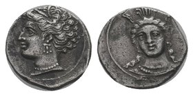Cilicia. Uncertain mint. AR Obol , 4th century BC. Obv. Head of Herakles facing slightly left, wearing lion skin headdress Rev. Head of Aphrodite left...