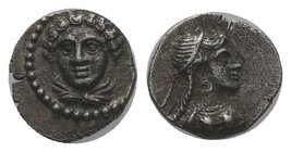 Cilicia, Satraps AR Obol. Tarsos, circa 380-360 BC. Time of Pharnabazos and Datames. Head of female facing slightly left / Bust of Aphrodite right, we...