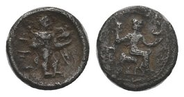 CILICIA, Tarsos. Tiribazos. Satrap of Lydia, 388-380 BC. AR Obol. Baal of Tarsos seated right, holding eagle and resting on scepter; monogram to left ...