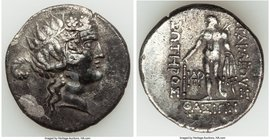 THRACIAN ISLANDS. Thasos. Ca. 148-90/80 BC. AR imitative? tetradrachm (30mm, 11h). XF. Head of Dionysus right, crowned with ivy, wearing mitra (cloth ...