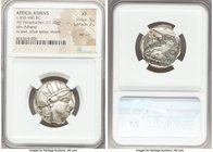 ATTICA. Athens. Ca. 455-440 BC. AR tetradrachm (24mm, 17.10 gm, 6h). NGC XF 5/5 - 2/5, test cut. Early transitional issue. Head of Athena right, weari...
