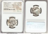 ATTICA. Athens. Ca. 440-404 BC. AR tetradrachm (25mm, 17.20 gm, 7h). NGC Choice AU 5/5 - 5/5. Mid-mass coinage issue. Head of Athena right, wearing cr...