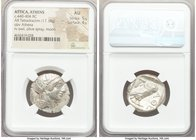 ATTICA. Athens. Ca. 440-404 BC. AR tetradrachm (24mm, 17.18 gm, 2h). NGC AU 5/5 - 4/5. Mid-mass coinage issue. Head of Athena right, wearing crested A...