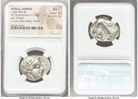 ATTICA. Athens. Ca. 440-404 BC. AR tetradrachm (26mm, 17.19 gm, 4h). NGC AU 4/5 - 4/5. Mid-mass coinage issue. Head of Athena right, wearing crested A...