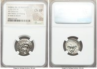 CARIAN ISLANDS. Rhodes. Ca. 250-205 BC. AR didrachm (20mm, 12h). NGC Choice XF. Mnasimachus, magistrate. Radiate head of Helios facing, turned slightl...