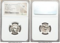 CARIAN ISLANDS. Rhodes. Ca. 250-205 BC. AR didrachm (20mm, 1h). NGC VF. Radiate head of Helios facing, turned slightly right / POΔION, rose with bud t...